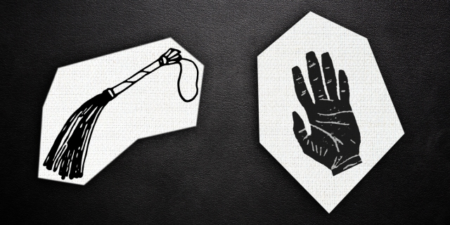 cutouts of black & white prints of a flogger and a human hand on a black leather background