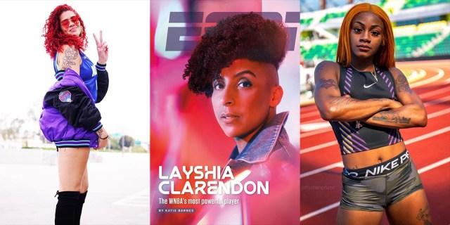 Three photo collage: Amanda Zahui B. of the LA Sparks, Layshia Claredon of the Minnesota Lynx, and Sha'Carri Richardson ready for the Olympics