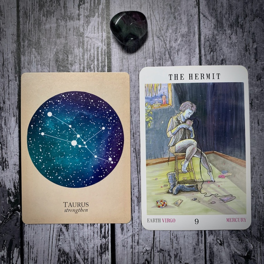 The Taurus constellation card and Hermit tarot card