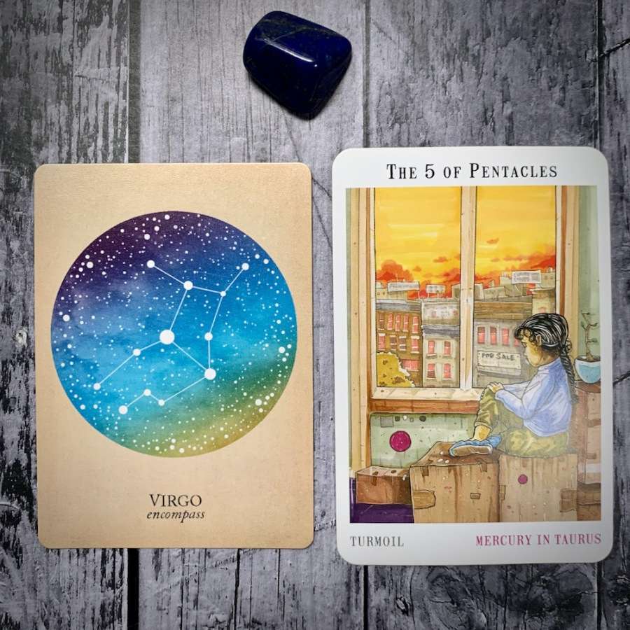 The Virgo constellation card and 5 of Pentacles tarot card