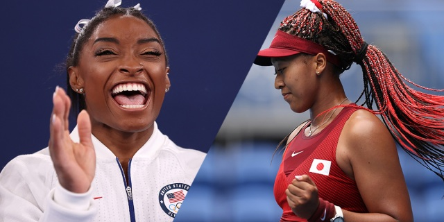 Side by Sides of Simone Biles and Naomi Osaka during the 2020 Tokyo Olympics