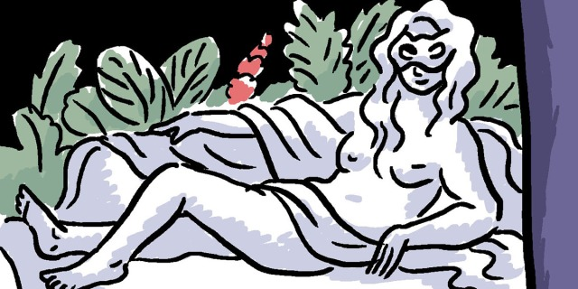 A cartoon of a statue of a woman lounging on a couch with a cloth draped around her