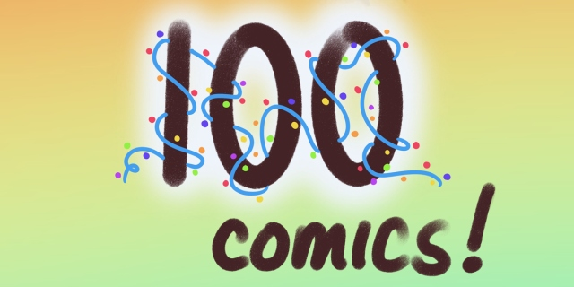 100 comics is in a rich brown color against an orange and green background. The 100 is covered in bright string lights.