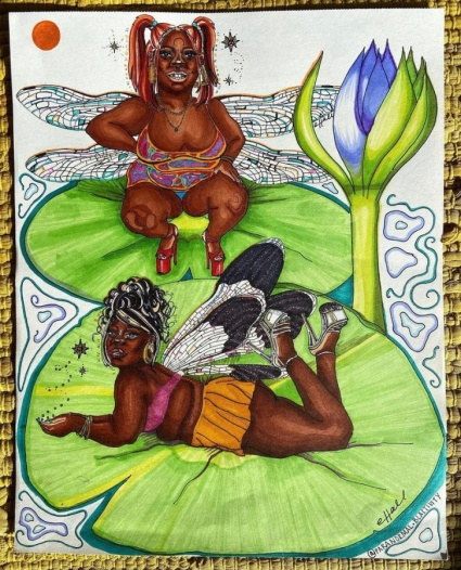 Image shows a drawing of two Black femmes presented as fairies relaxing on lilypads