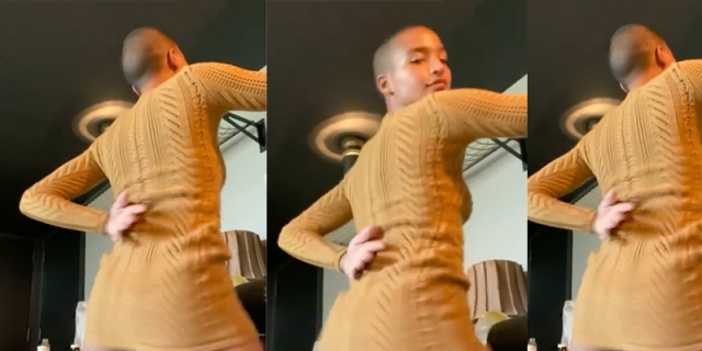A collage of Indya Moore dancing in a yellow sweater dress