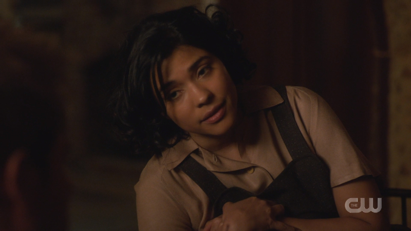 Spooner looks a little tired as she talks about her mama with constantine.