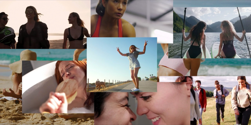 A stock photo collage of women: at the beach, skateboarding on a road, in a bath singing with a brush, two women who look like they're about to kiss, two women on kayaks, women hiking