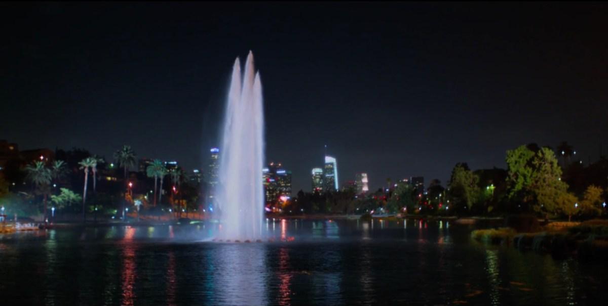 Echo Park Lake at night
