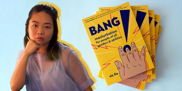 A photo of author Vic Liu in a lavender sheer sleeve dress propping her head on her fist and looking directly into the camera next to a stack of copies of Bang!