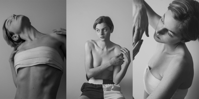 A three-photo collage of Emma Corrin: in a makeshift binder, sitting shirtless with an arm across their chest, and in a dancer's pose