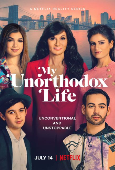 """Image shows 5 caucasian people with the skyline of NYC behind them and text in the center that reads """"my unorthodox life: unconventional and unstoppable"""""""