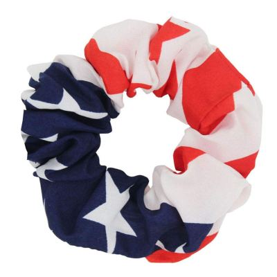 A hair scrunchie with the design of the Stars and Stripes flag
