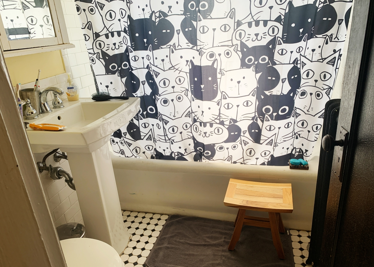 Bathroom with cat curtain pulled closed over bath tub and shower stool sitting next to the wall, sink and bath rug also visible.