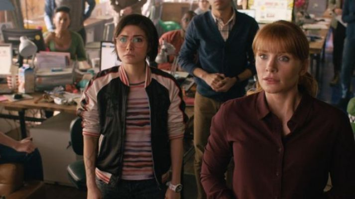 """Still from """"Jurassic World"""" featuring Dr. zia rodriguez in a cute jacket"""