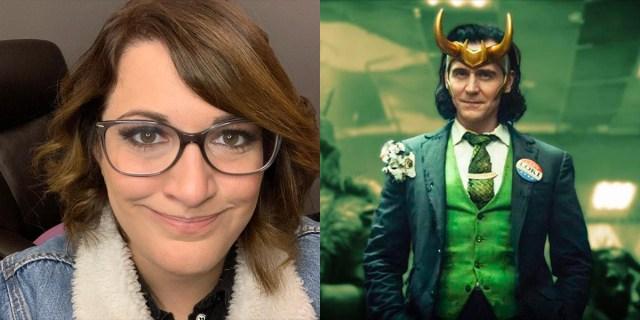 Left: Kate Herron in a jean jacket / Right: Loki in a green suit
