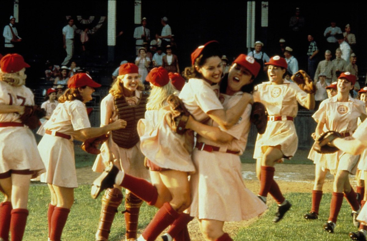 lady baseball players celebrating a win in A League of Their Own