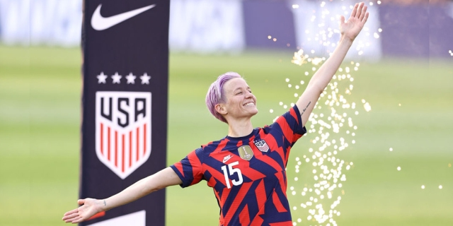 EAST HARTFORD, CONNECTICUT - JULY 05: Megan Rapinoe #15 of the United States is announced during the Send Off ceremony following the Send Off series match against Mexico at Rentschler Field on July 05, 2021 in East Hartford, Connecticut. (Photo by Elsa/Getty Images)