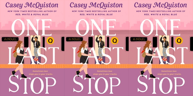"""One Last Stop review: The cover of One Last Stop: A queer Asian woman in ripped jeans, a white t-shirt, a leather jacket, and red sneakers stands on the Q train. A white bisexual woman with red hair, carrying a cup of coffee, wearing black boots and a black jumper-dress walks by and notices the woman in the train. The cover says """"One Last Stop."""""""