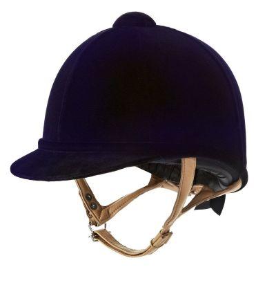 a black horse riding helmet