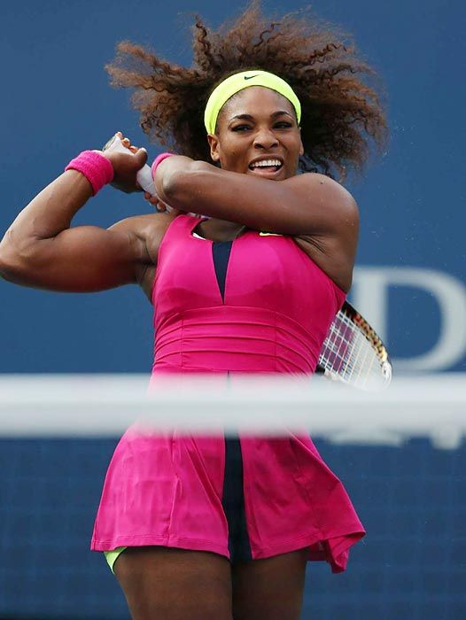 Serena Williams, the greatest athlete of all time, following through a shot after a devastating return