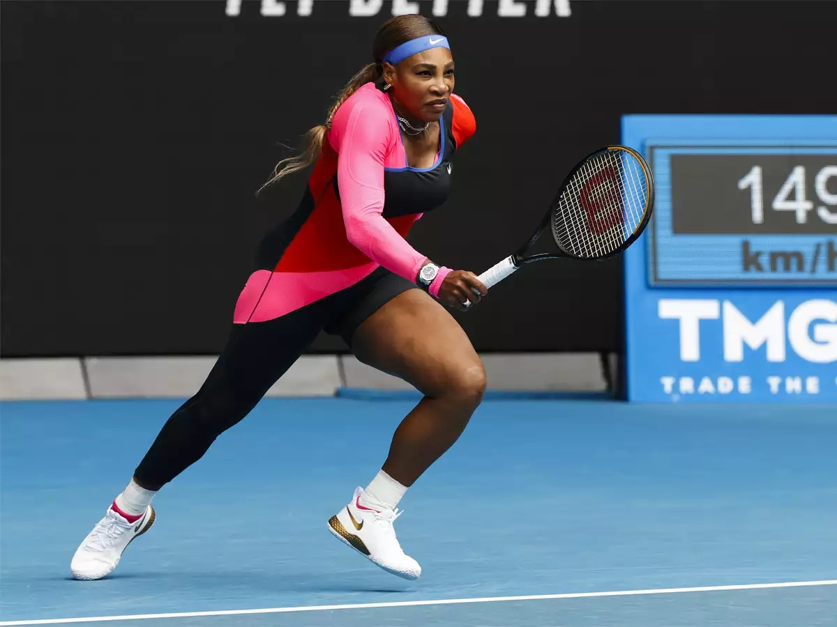 Serena Williams, the greatest athlete of all time, running across a tennis court