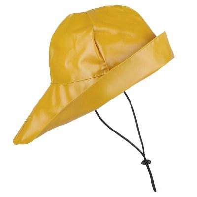 a yellow souwester rain hat