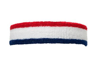 a sports sweatband in red white and blue