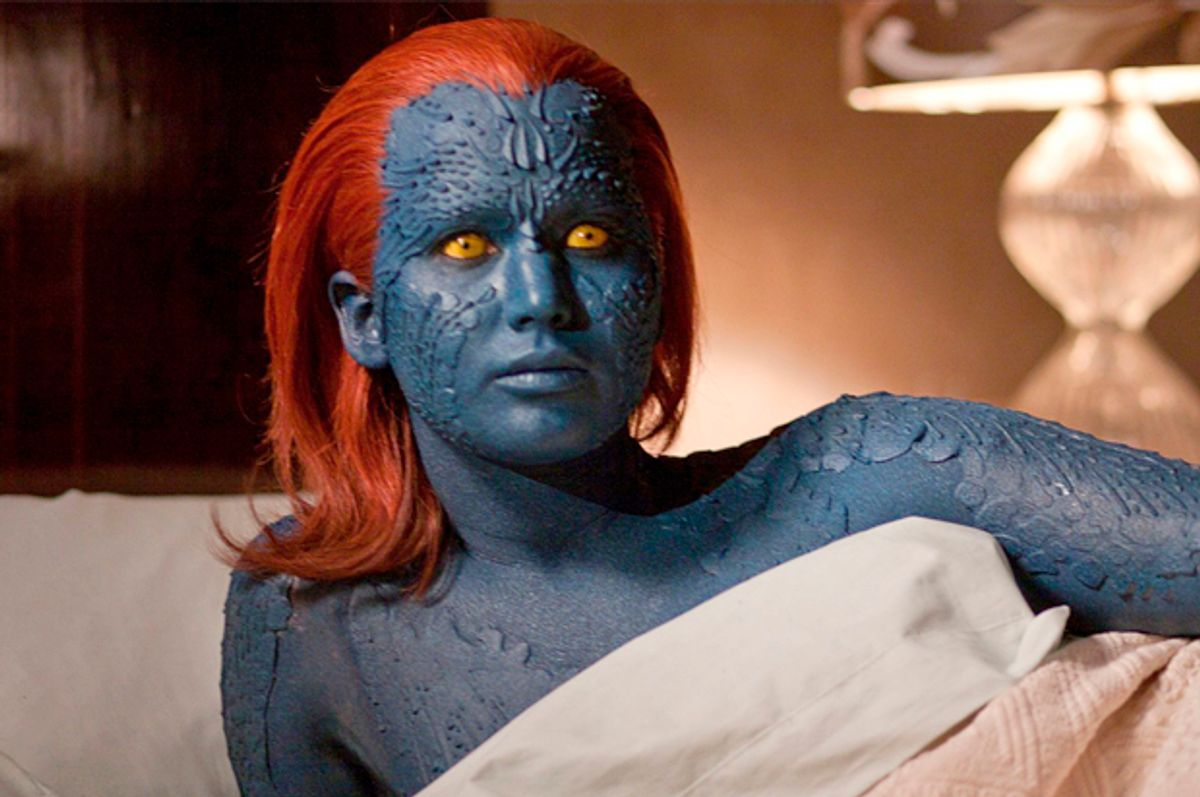 Shot of Mistique from the X-Men movies