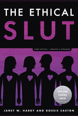 """A black, white and purple book cover features four black images of bodies with purple hearts. The title reads, """"The Ethical Slut."""""""