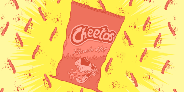 Illustration of a bag of Flaming Hot Cheetos on a background of single cheetos with scattered dust on a yellow background.