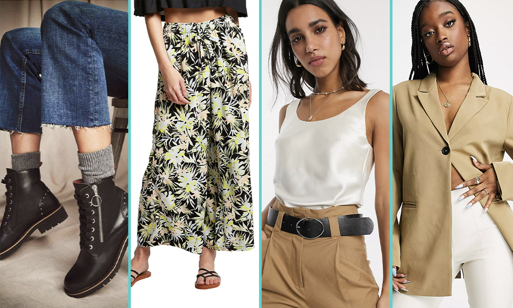 Black motorcycle style boots with a silver zipper detail, a wide leg pants with a palm tree pattern, an off white satin tank top with a scoop neck, a tan oversized suit jacket.