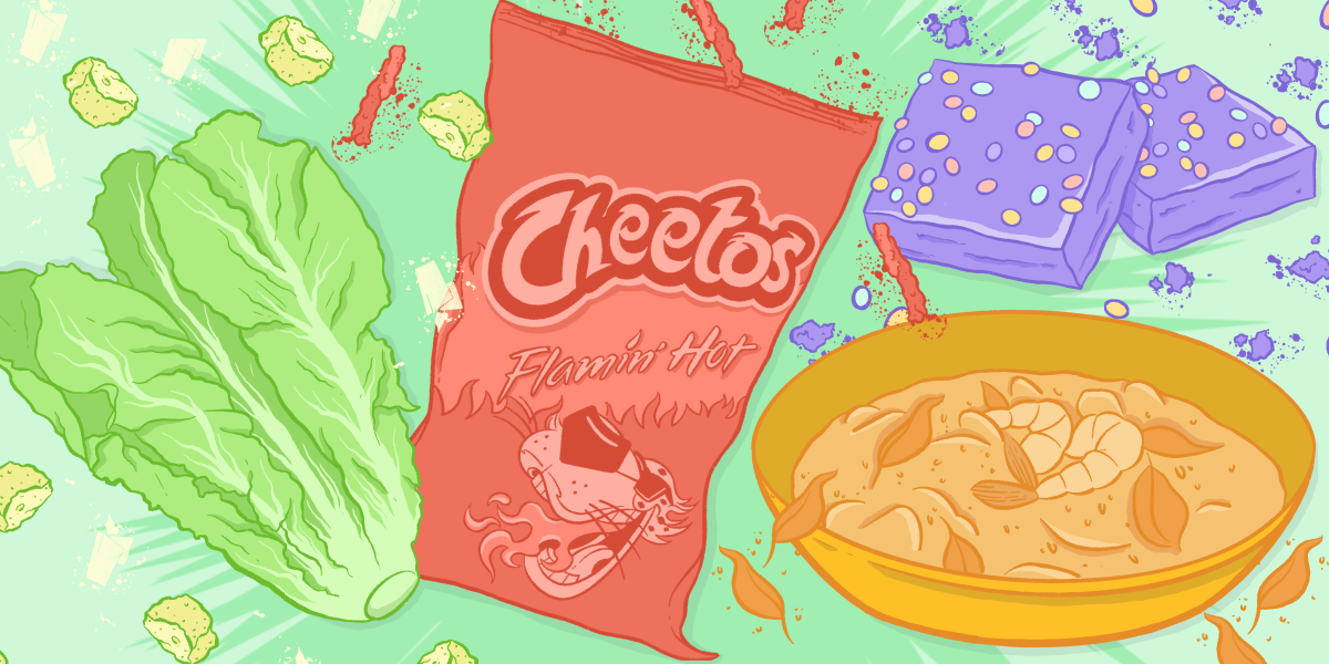 A colorful illustration of a head of romaine lettuce, bag of hot cheetos, bowl of hot food and ice cream bars