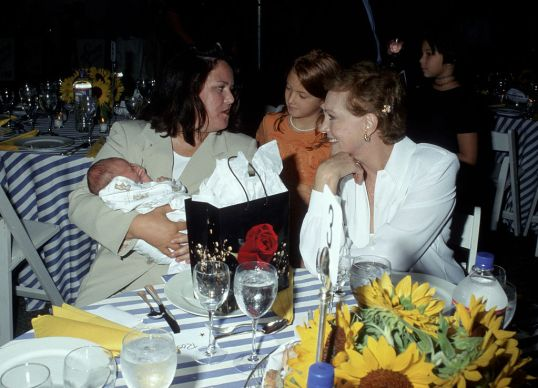 Rosie O'Donnell, Julie Andrews, and guest during Summer Gala Benefit Bash for the Bay Street Theatre