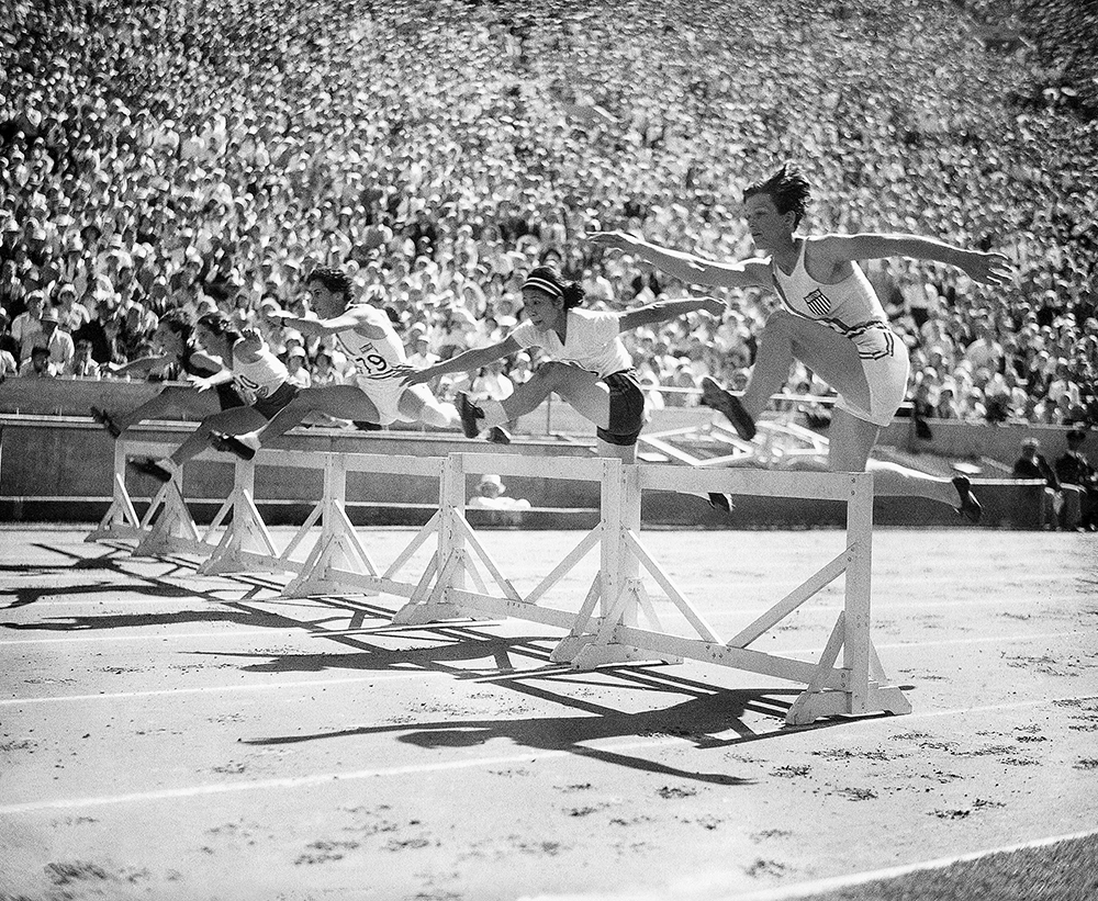 Babe Didrickson competes in a hurdles event in the 1932 Olympics