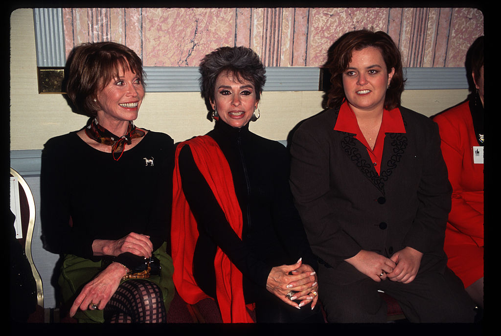 Actresses Rita Moreno, Mary Tyler Moore and comedian Rosie O''Donnell sit together at the New York Women in Film and Television luncheon at the New York Hilton