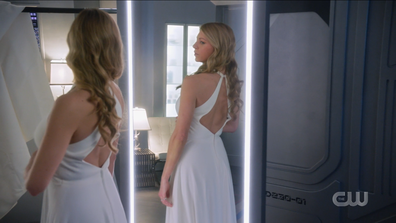 Legends of Tomorrow Episode 611: Ava looks at her wedding gown in the mirror