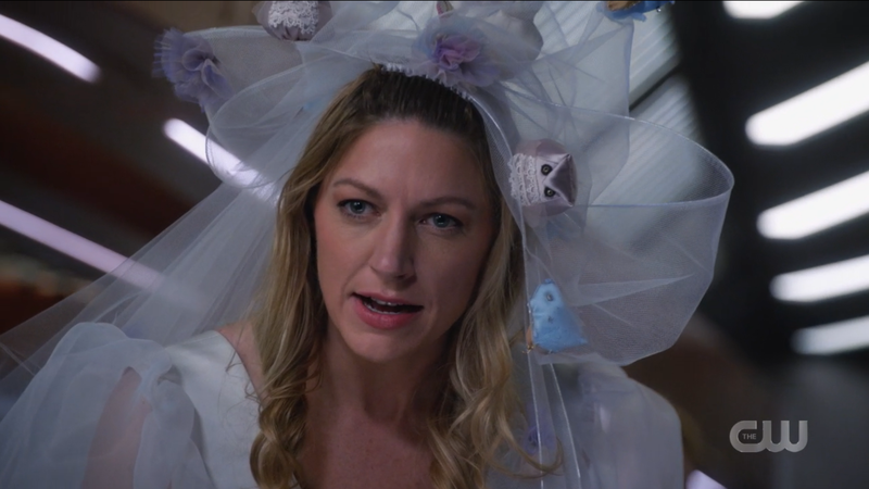 Legends of Tomorrow Episode 611: Ava in her ridiculous veil with stuffies sewn into it.