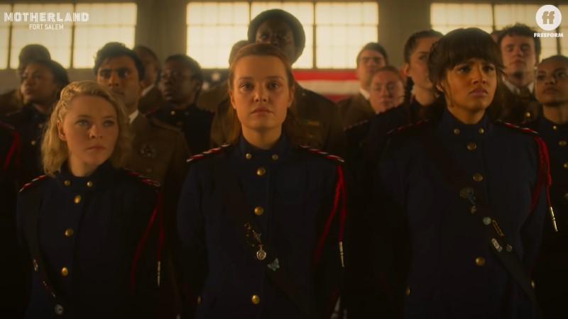 Motherland Fort Salem episode 209: Raelle, Tally, and Abigail stand tall shoulder to shoulder