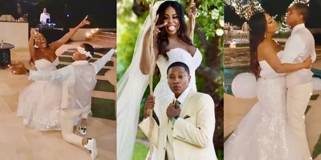 A collage of Niecy Nash and her wife Jessica Betts on their wedding day: in the first photo Jessica removes Niecy's garter belt, in the second photo the pair makes silly faces, in the third they take their first dance as wives.