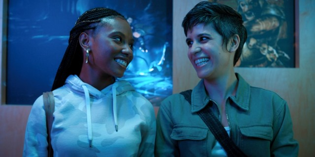 Mythic Quest: Rachel and Dana smile at each other