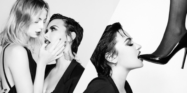 In two black and white images, Demi Lovato has their hair slicked back. In one they are sucking on a blonde woman's finger, in the other they are biting on a high heel