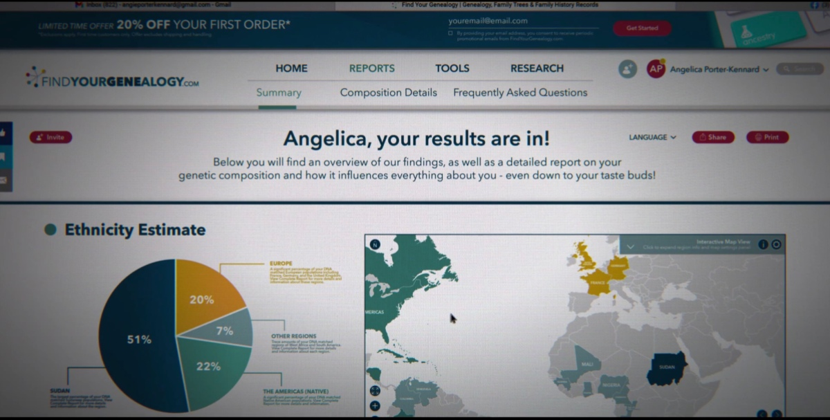 Angie's results from the genetic test