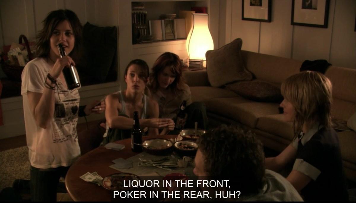 Girls playing poker in season 1=one