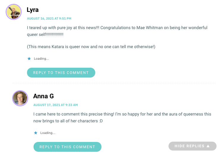 I teared up with pure joy at this news!!! Congratulations to Mae Whitman on being her wonderful queer self!!!!!!!!!!!!!!!! (This means Katara is queer now and no one can tell me otherwise!)