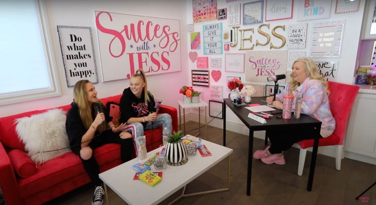 JoJo Siwa and Kylie in her mother's office doing an interview