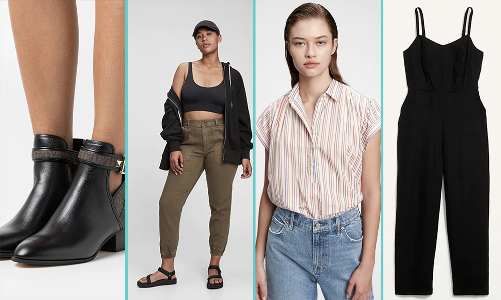 Examples of lesbian workplace fashion: A close up of black Chelsea boots with side cut outs, a pair of khaki green pull up trousers, a light weight pinstripe shirt in pink, and a black linen jumpsuit