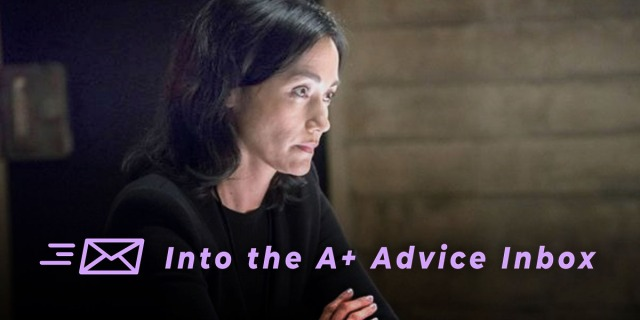 a character from law and order folds their arms, presumably in therapy or a therapist. text on the image reads: into the A+ advice box