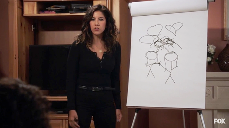 Rosa Diaz stands in front of a scribbled drawing trying to explain bisexuality