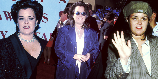 3 pictures of Rosie O'Donnell in blazers