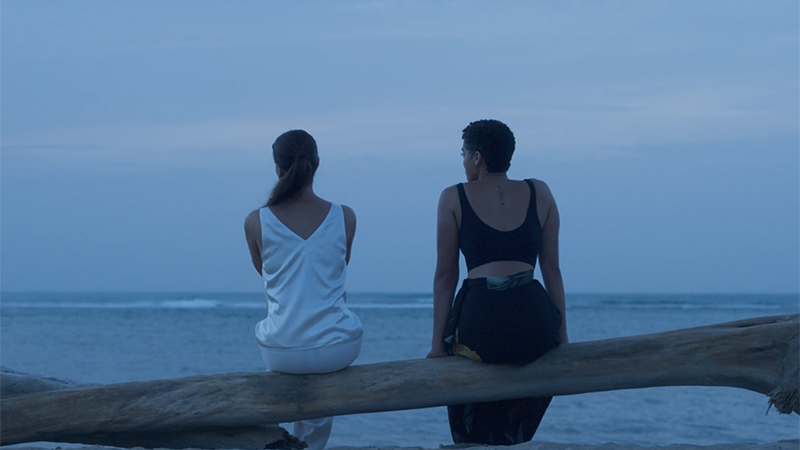 Elena and Ruby sit on a log and stare out at the ocean